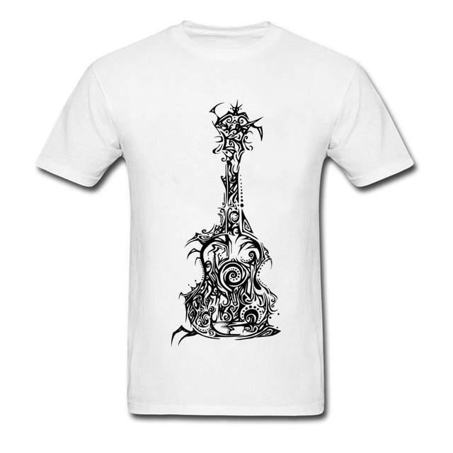 Retro Tribal Guitar Print T Shirts Mens Custom Music Drawing T