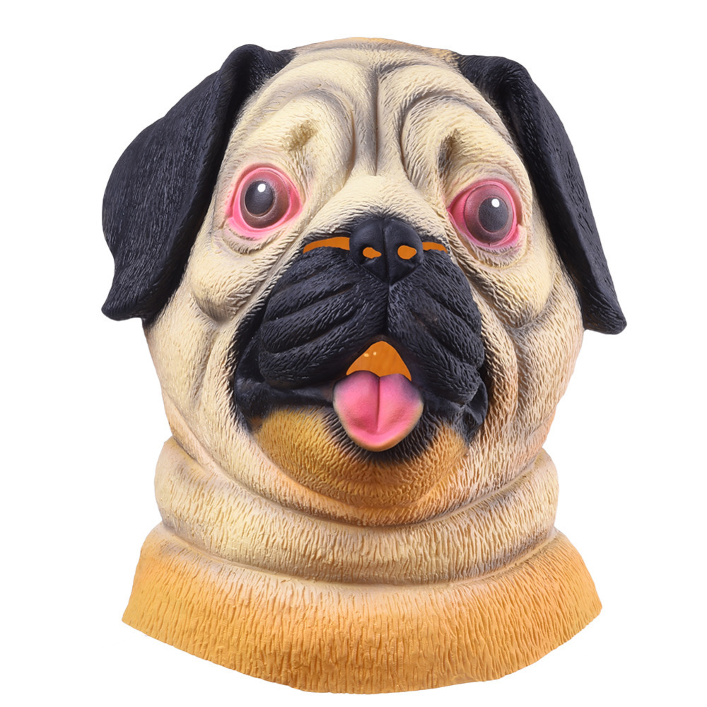 halloween mask pug dog head party mask headwear party festival cosplay costume shar pei full face animal mask party supplies in party masks from home