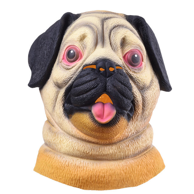 halloween mask pug dog head party mask headwear party festival cosplay costume shar pei full face animal mask party supplies