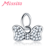 MISSITA Women Lovely Bowknot Charms fit Pandora Bracelets & Necklaces for Jewelry Making Ladies Accessories