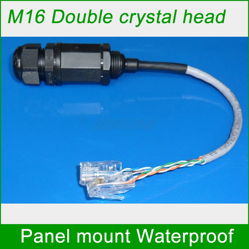RJ45 M16 Double crystal head waterproof connector with 25cm cable Power supply Signal line Telecom Interface Monitoring system