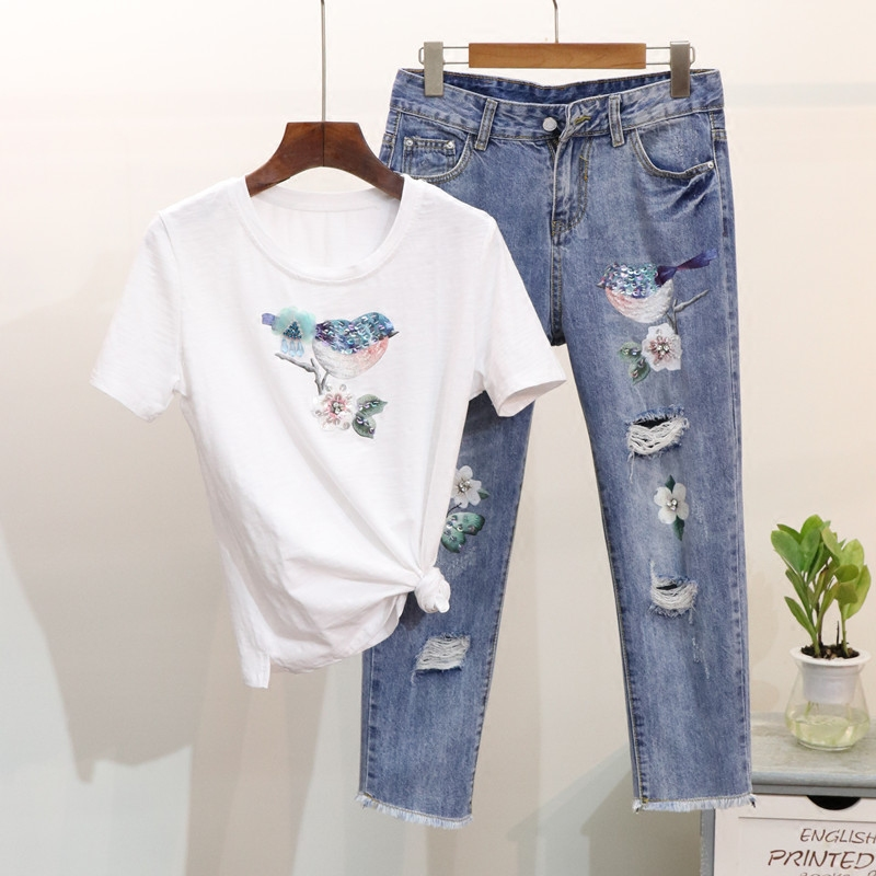 Holes Denim Pants Set Women's Two piece Set Spring Summer Sequined Bird Short Sleeve Cotton T shirt + Seven cent Jeans Suit Lady