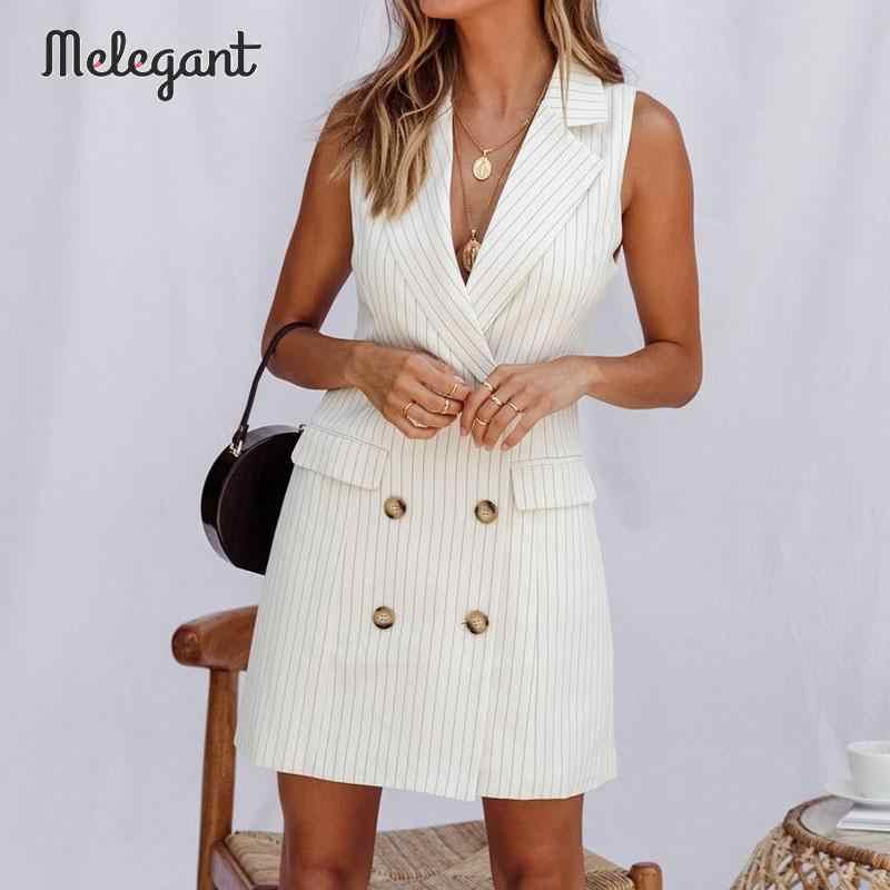 Melegant 2019 casual autumn winter dress blazers women stripe mini white dress straight high fashion vest dress vestidos
