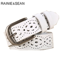 RAINIE SEAN White Real Leather Belts For Women Hollow Out Female Waist Belt Pin Buckle Ladies Jeans Black 105cm 110cm