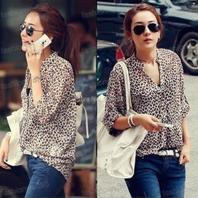 685a81da9b Women Chiffon Sexy Leopard Print Summer Shirt Top Button Down Blouse ...