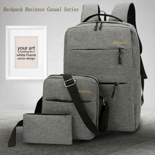 2019 Stad Tas Laptop Rugzak Schooltas Business Case Rugzak Reizen College Unisex Solid Canvas Tassen 3 Pcs