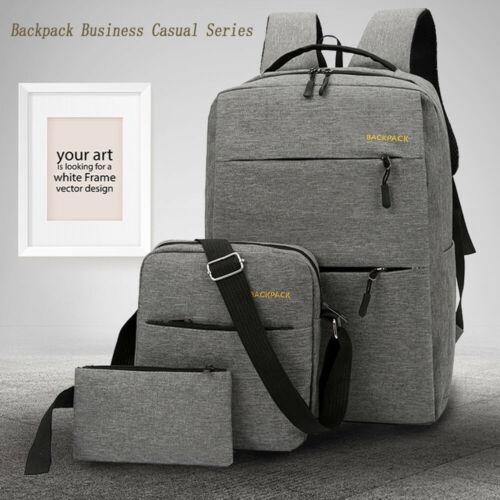 2019 City Bag Laptop Backpack School Bag Business Case Rucksack Travel College Unisex Solid Canvas Bags 3 Pcs