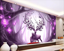 beibehang Custom high quality 3d wallpaper European style dream forest elk Childrens room background wall