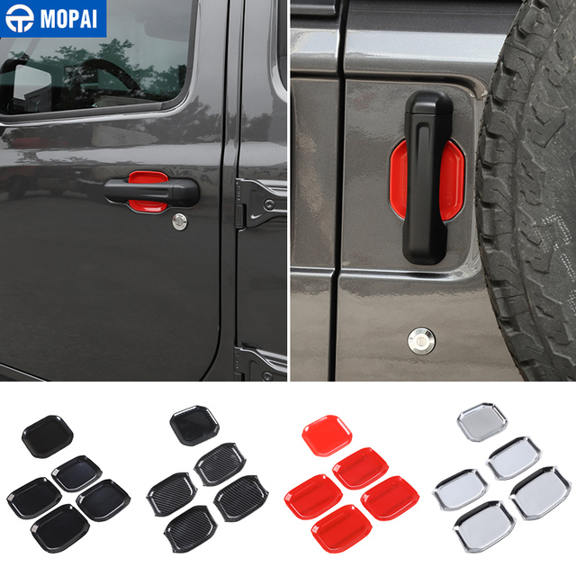 MOPAI Car Stickers for Jeep Wrangler JL 2018+ Car Front Tail Door Handle Bowl Decoration Cover for Jeep JL Wrangler Accessories