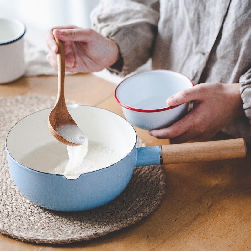 Japonais simple bois main épaississement émail lait sauce pot nouilles petit déjeuner bébé cuisinière confiture casserole électromagnétique four gaz général