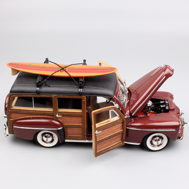 1:18 Scale Classic famous 1948 Ford Woody Woodie station wagon classic diecast metal model SURFBOARD toy car kids for collector yellow car model for 1 18 rover series i ltd 1948 minichamps classic collection diecast model car diy model customs made