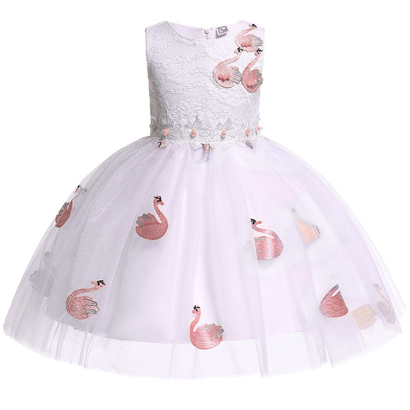 Flower Girl Party Dream Wedding Bridesmaid Girl's Birthday Party Dinner Ball High-end Printed Dresses Vestidos De Fiesta