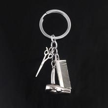 New Barbershop Keychains Silver Comb Hair Dryer Scissors Pendant Creative Jewelry For Man Woman Souvenir