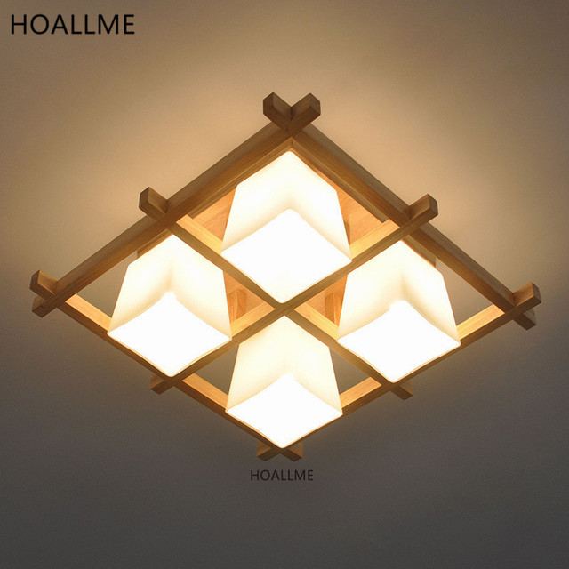 Ceiling Light Japanese: Aliexpress.com : Buy Japanese Style Wooden Frame LED