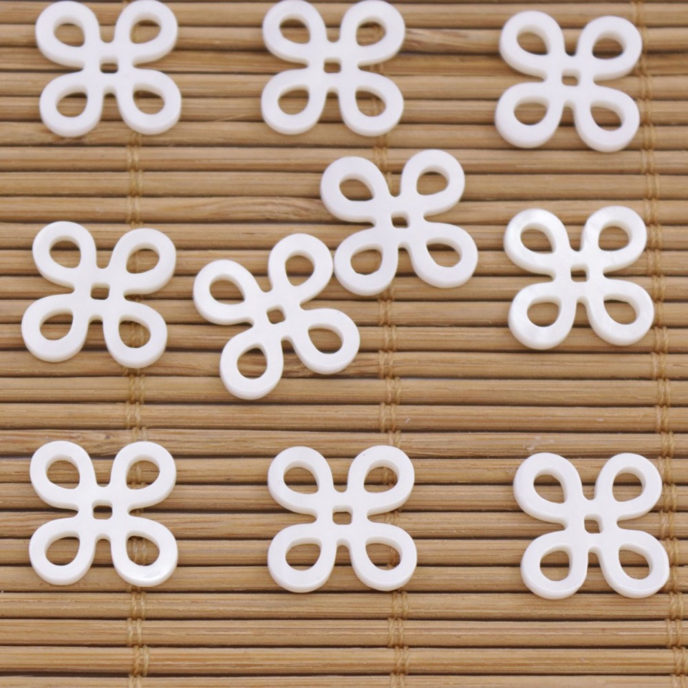 Купить с кэшбэком 10 PCS Chinese knot Flower Shell Natural White Mother of Pearl 14mm