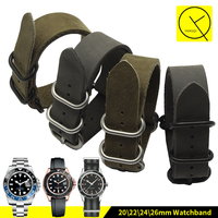 Nato Watchband 20 22 24 26mm Sports Genuine Leather Retro Watchband Watch Strap Accessory Long Belt