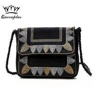 New Women Embroidery Leaves Small Handbags Simple Korean Version Shoulder Bag Lady Tide Fashion Shopping Bag