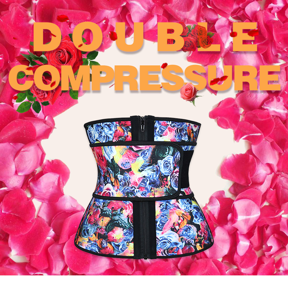 NB1695-2 Atbuty High Compression Waist Trainer Cincher Zipper Rose Printing Tummy Lose Weight Latex Body Shapers Corsets (1)