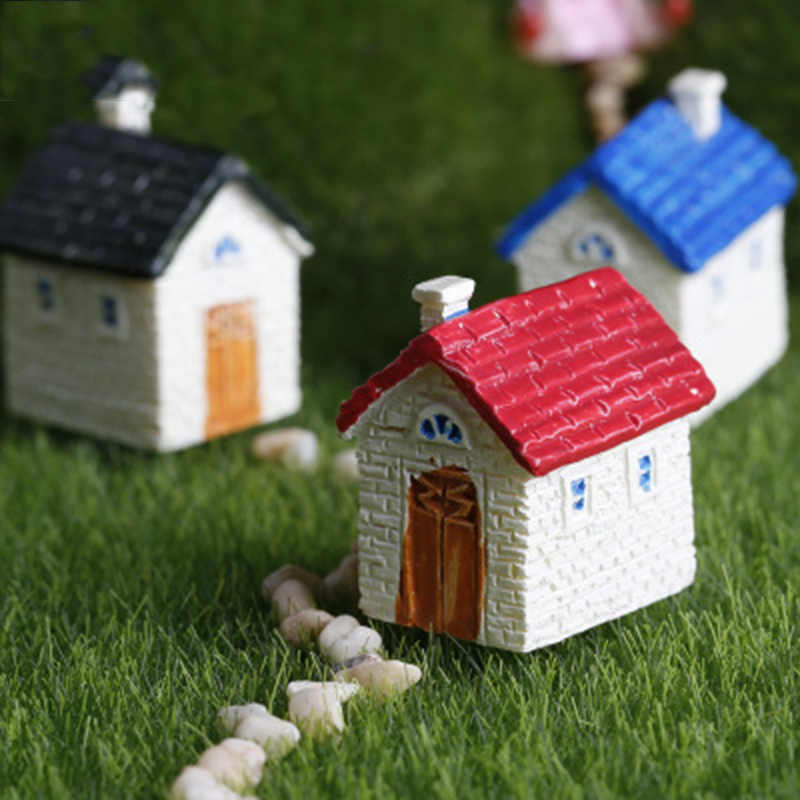 ZOCDOU Cute House Building Cottage Room Small Statue Home Decoration Accessories Miniature Children Toys Decor Craft Figurines