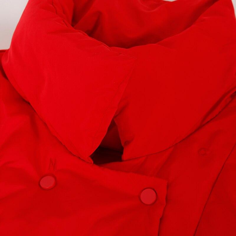 Pendule Vêtements Grande Broderie beige Un Double Black Chaud Breasted Littéraire W1933 red Taille Coton Vertical Col Version Coréenne Y6xBn