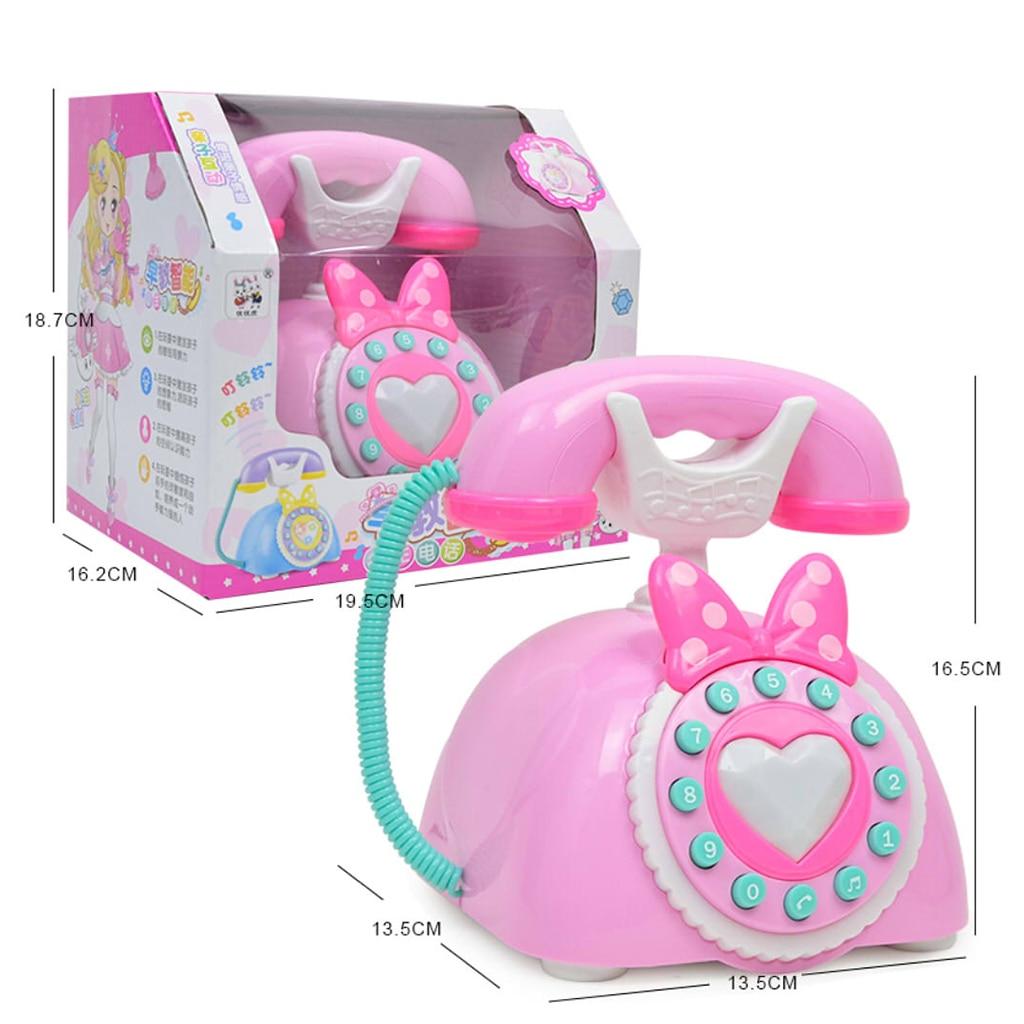 Vintage téléphone fixe enfants semblant jouer grand jouet éducatif précoce pour les enfants peut parler en chinois et en anglais-rose