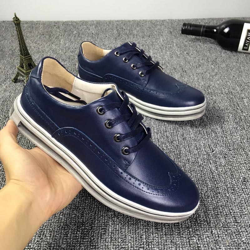 2017 genuine leather oxfords shoes leather