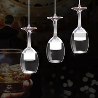 3Pcs LED Modern Minimalist Creative Wine Glass Pendant Lamp Fixture Lighting Modern Shop/Bar/Hall Pendant Light
