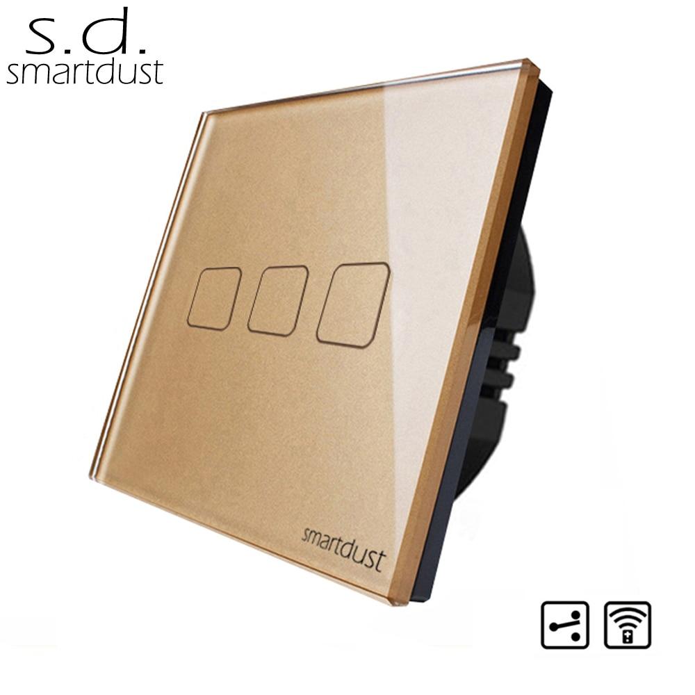 Smartdust EU Type 3 Gang 2 voies RF contrôle intelligent maison interrupteur panneau de verre luxe mur lumière LED interrupteur tactile