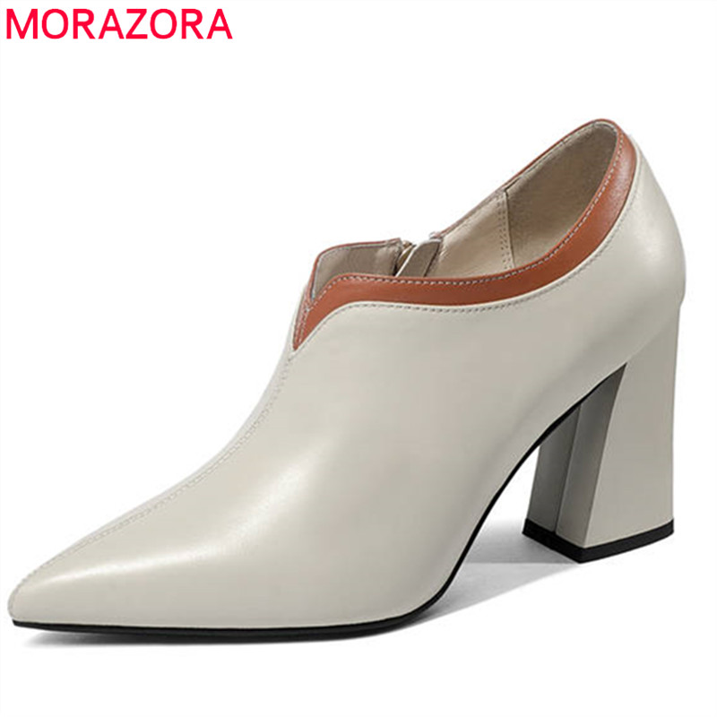 MORAZORA 2020 top quality genuine leather shoes pointed toe women pumps simple zipper fashion square high