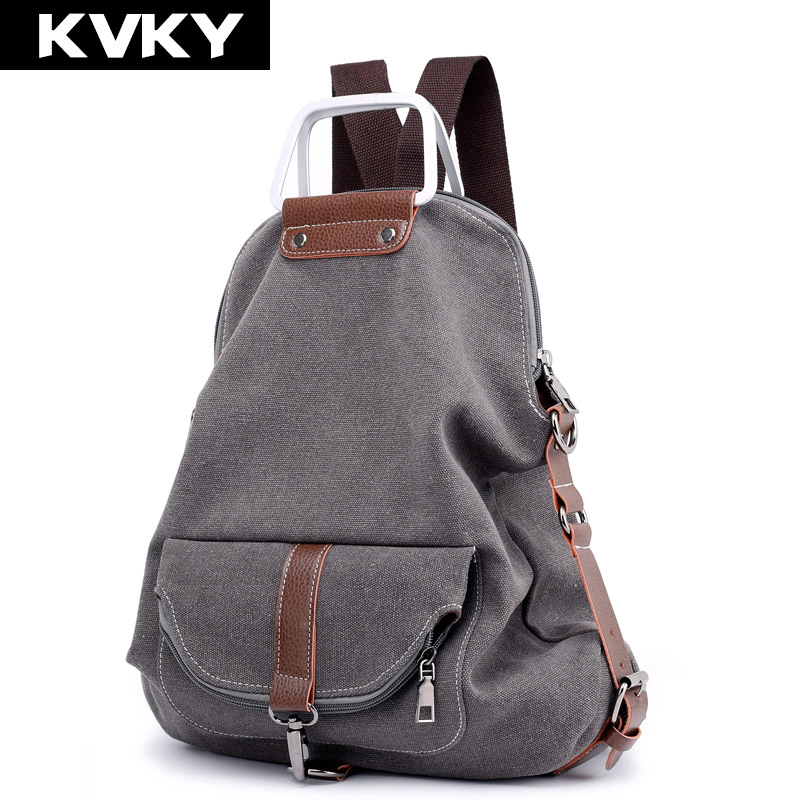 Kvky New Vintage Women Backpack Multifunction Canvas Rucksack For Teenager Girls School Bag Large Capacity Female Travel Mochila