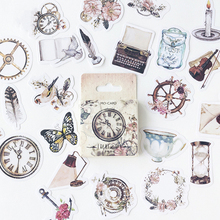 46Pcs/box Vintage Daily Necessities Stickers Scrapbooking Creative DIY Journal Decorative Adhesive Labels Stationery Supplies