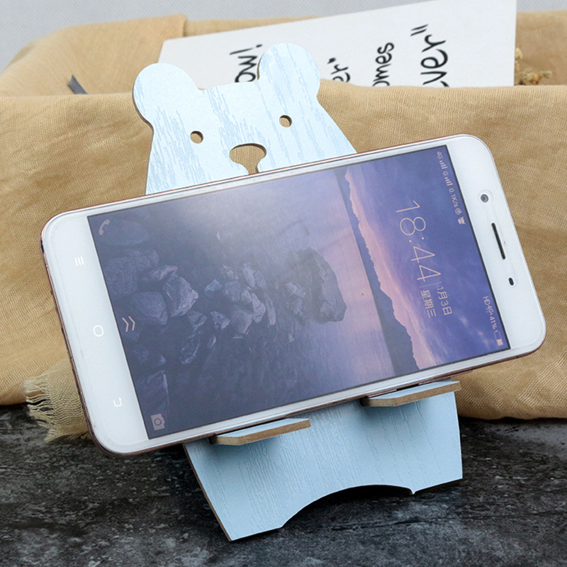 Cartoon Wooden Universal Phone Holder For iPhone X XR XS Max Cute Bear All Mobile Phone Mount Holder For Xiaomi Redmi 4X Stand