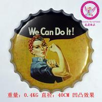High quality 100% Vintage Metal plaque Painting Beer cap We Can Do It Tin signs Retro decoration Poster decor art 40x40 CM