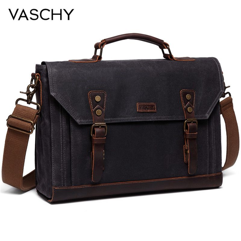 VASCHY Canvas Messenger Bag for Men Vintage Leather Bag Men Waxed Canvas Briefcase Men for 17