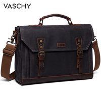 VASCHY Canvas Messenger Bag for Men Vintage Leather Bag Men Waxed Canvas Briefcase Men for 17.3 inch Laptop Office Bags for Men