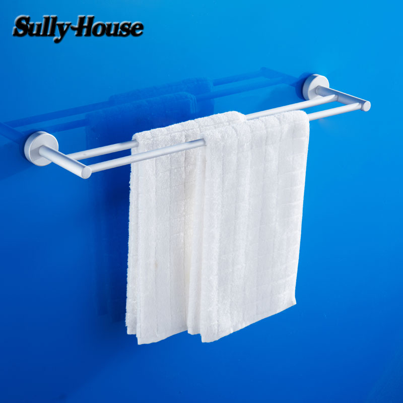 Sully House Space Aluminium Bathroom Double/Single Towel Bars,Towel Rail,60cm Towel Rack,Towel Holder,Bathroom Accessories bathroom space aluminum single towel bar towel holder bathroom accessories single towel rack