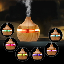 saengQ Electric Humidifier Aroma Oil Diffuser Ultrasonic Wood Grain Air Humidifier USB Mini Mist Maker LEDLight For Home Office