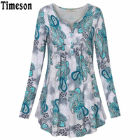 Timeson Autumn Spring Women S Long Sleeve Print T Shirt For Female Vintage Ruffled Loose Hem