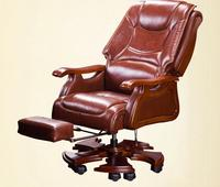European leather boss chair family office chair solid wood cowhide big class chair massage can lie in computer chair.
