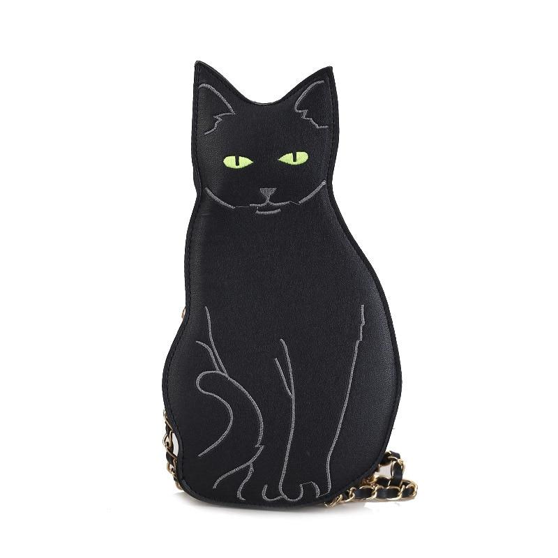 New Women's Shoulder Bag Fashion Cute Cat Handbag Vintage Chain Shoulder Bags Messenger Bags PU Leather Mini Messenger Bags