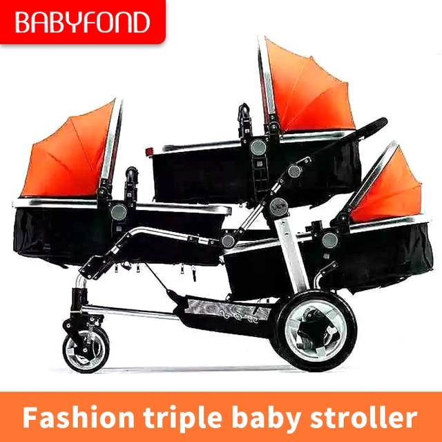 2019 nieuwe triple kinderwagen gemakkelijk vouwen twin drie kinderwagen PU wiel schokdemper er baby kinderwagen 1