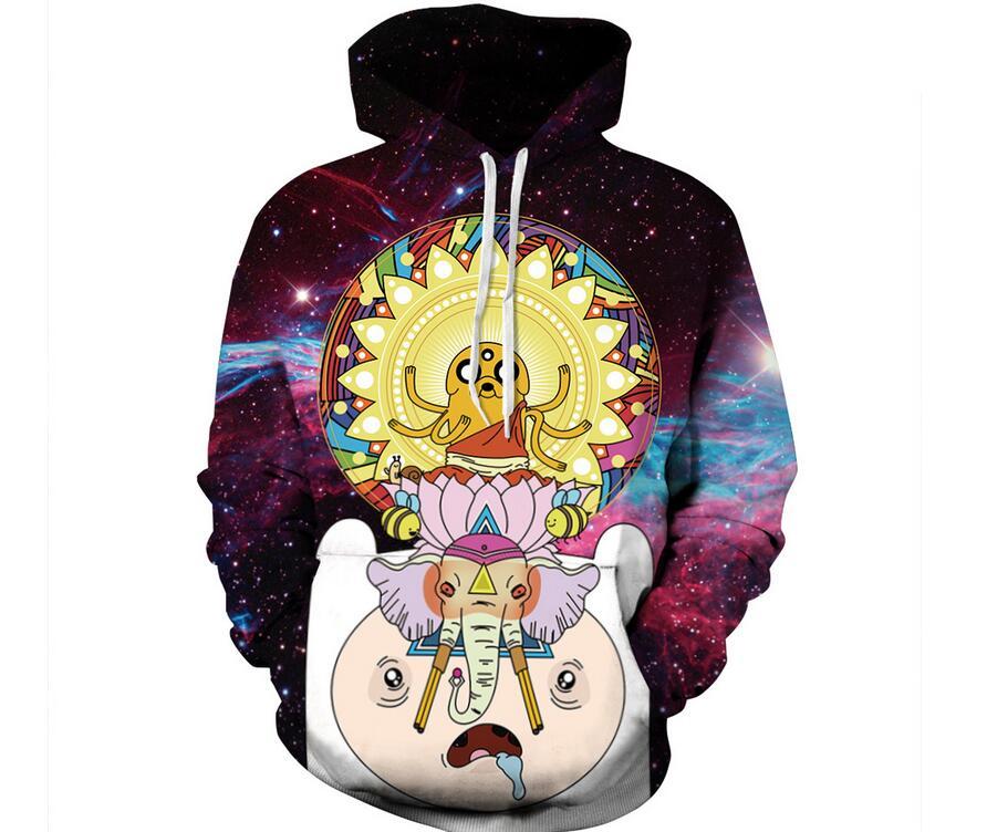 Hoodies Space Galaxy Adventure time Sweatshirt 3D Hoodie Hip Hop Coat Casual Streetwear Print Thin tops Hat Sweatshirt Men Women hoodie