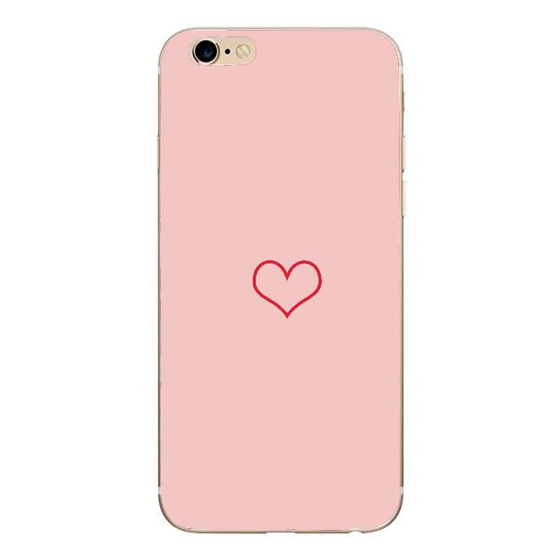 الهاتف حقيبة لهاتف أي فون 6 6s 7 8 Plus X XR XS Max الكرتون الحب القلب زوجين مابل طباعة الوردي لينة تي بي يو آيفون 8 جراب هاتف
