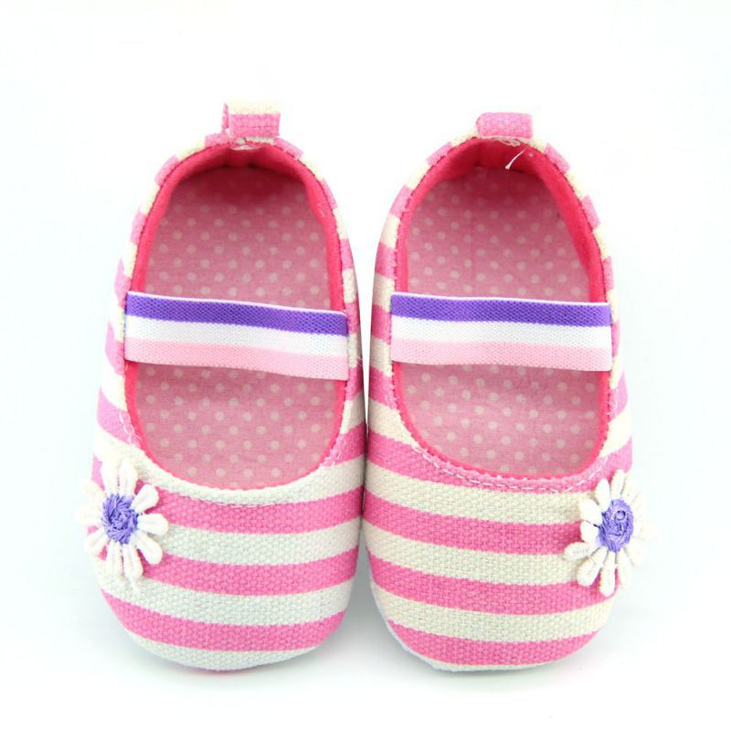 Baby Girl Canvas Striped Soft Sole Shoes Crib Shoes Infant Prewalkers 0-18 Month Best
