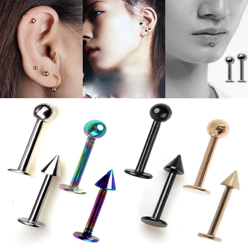 5Pcs Labret Tragus Ear Piercing Lip Tongue Bar Stud Stainless Steel Jewelry