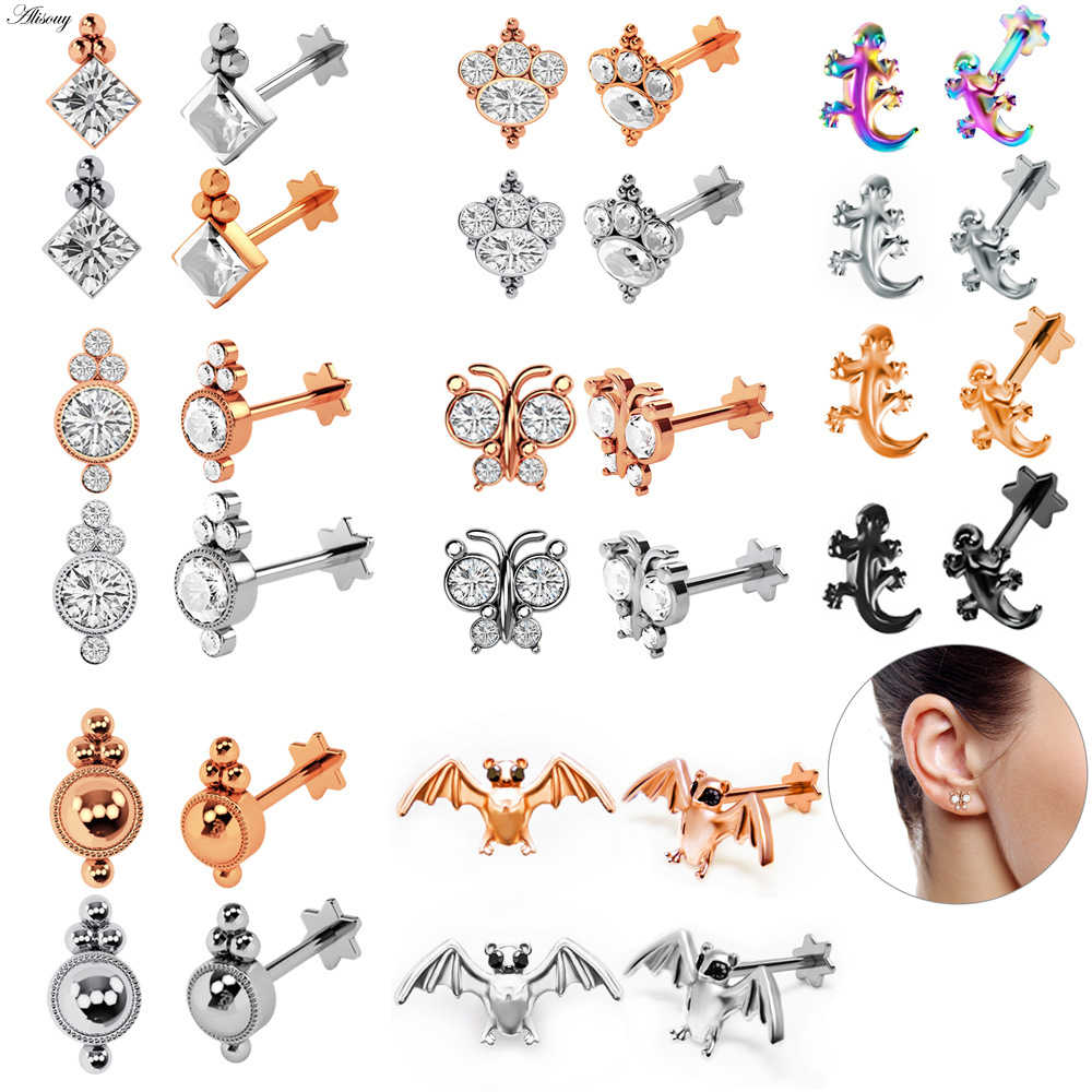 New 1pc Tragus Ear Cartilage Ring Helix Jewelry Labret Piercings 1.2*8*4mm Lip Ring Studs Rook Lobe Steel Piercing Body Jewelry
