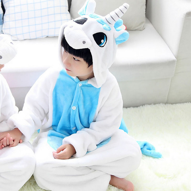 Unicorn Blanket Onesie Kids Boys Girls Animal Party Pajamas Winter Children Flannel Funny Pijamas Cartoon Sleepwear Jumpsuits