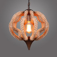 Eurpean Contemporary Style Rope Chandelier Hemp Rope Lamp Loft Pendant Lamp D40CM 110V 220V Pumpkin For Halloween WPL128