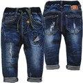 3994 0-4 anos de BEBÊ calças de brim DO FURO calças jeans meninos calças marinha azul bebê crianças criança roupas menino moda novo 2017 muito bom