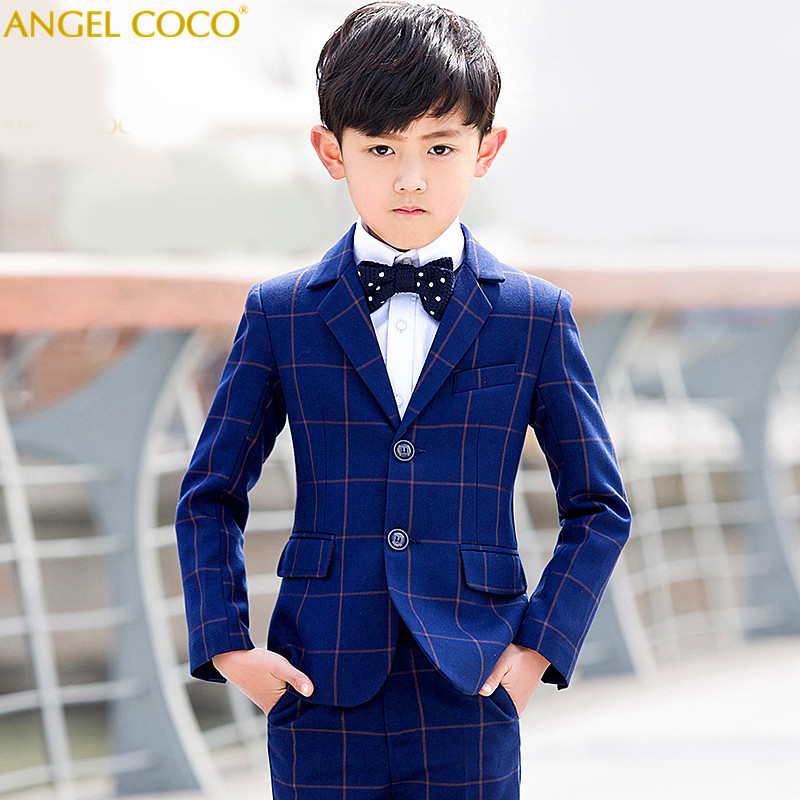 Boys Suits for Weddings New Arrival Solid Navy Blue boys wedding suit Formal suit for boy